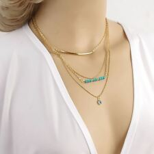 Bohemian Turquoise Beads Wave Eye Charm Gold plated Layers Chain Necklace
