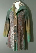 CURIO womens sweater cardigan knit coat patchwork S