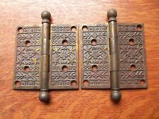 """Two Fancy Victorian Floral Antique Brass-Plated Door Hinges 4"""" X 4"""" c1885"""