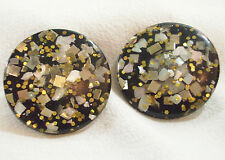 Black Gold Silver Confetti Button Style Clip on Earrings Pearl Chips Vintage