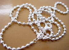 "Promotion Price 5PCS 925Sterling Silver Ball Bead Chains Necklace 2MM 20"" ZC002"