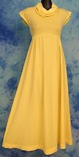 MOD 60s 70s CHiC ViNTAGE YELLOW COWL NECK MAXi HOSTESS GARDEN PARTY PROM DRESS S