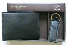 Black Brown 1826 Mens Leather LFold Wallet With Key Fob 97-2188-01 New NIB