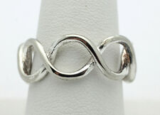 Sterling Silver .925 Simple Twisted Figure 8 Fashion Band Ring Size 9 4.4g D856