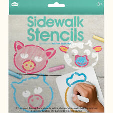 Set of 5 Farmyard Animal Face Sidewalk Stencils & 4 Chalk Pastel Sticks