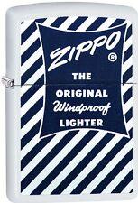 Zippo Blue White 1958-59 Retro Add. White Matte WindProof Lighter NEW 29413