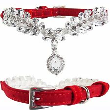 Luxury Small Red Suede Leather Bling w/ DIAMOND PENDANT Dog Puppy Collar