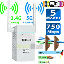 750Mbps Dual Band 2.4/5GHz Wireless Range Extender WiFi Repeater Router Antennas