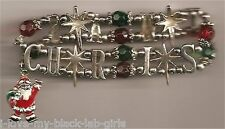 Christmas BRACELET #012 Santa Beaded Stretch Charm Spells Christmas ~ No Clasp ~