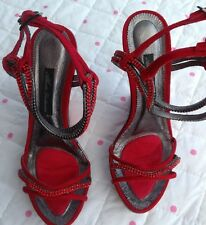 Alberto Venturini Red Diamante Wedge Shoes Sandals High Heel 36 Uk 4 Brand New