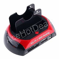 "USB 2.5"" 3.5"" Dual SATA Hard Disks HDD Docking Station e-SATA Hub SATA Cables"