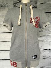 Superdry grey ladies short sleeve thick gym hoodie hoody size XS Extra Small 8