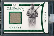 2016 FLAWLESS BABE RUTH 5/5 MATERIAL GREATS RELIC GAME-WORN YANKEES