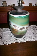 GORGEOUS HAND THROWN ORCAS ISLAND LARGE LIDDED POT/JAR, WHALES, SEATTLE POTTERY!