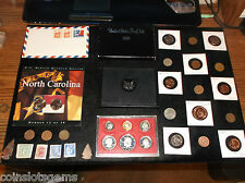 JUNK Drawer Coin Lot Ike Susan B Dollar PROOF SET+Old Coins+Old Stamps+WWII COIN