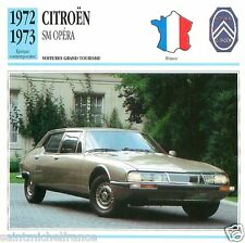 CITROËN SM OPERA 1972 1973 CAR VOITURE FRANCE CARTE CARD FICHE