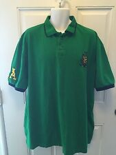 Mens Red Ape Polo Rugby Pullover Shirt Green 2XL Short sleeves XXL