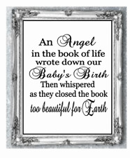 """Vinyl Sticker 8"""" x 8"""" Baby Memory Poem - An Angel in the book of Life - QUOTE"""