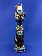 Egyptian Cat Old World Christmas Tree Ornament Glass Travel Animal NWT 12443