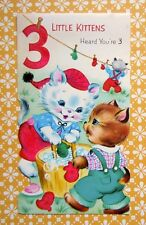 Vintage 1960 Die Cut Greeting Card 3 Little Kittens Hanging Mittens to Dry
