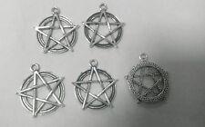 5x Plata Tibetana Pentagram Del Pentáculo Abalorios Estrellas para collares &