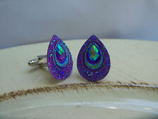 1Pr Peacock Feather Wedding Cufflinks Mens Jewlery Cuff Links Accessories PURPLE