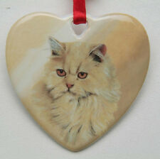 New Ceramic Heart Persian Cat Ornament With Ribbon Hanger Kitty New In Box Gift