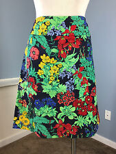 Talbots Multi Color Floral Print Skirt Straight Pencil Excellent 14 P Work Party