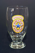 Newcastle Brown Ale One and Only Beer Glass, Enamel Logo, Footed