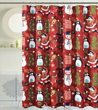 Seasons Greetings 13 Piece Waffle Fabric shower curtain Merry Christmas