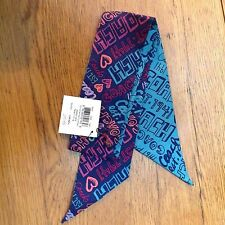 Coach Daisy Story Patch Print Silk Ponytail Pony Tail Scarf NEW Navy/Multi