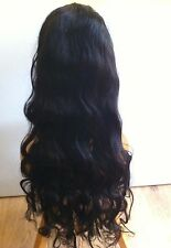 "Brazilian 100% Virgin Human Hair FULL LACE Wig 26"" 130% Density Colour 1B"