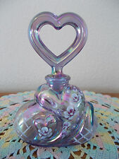 FENTON VIOLET IRIDESCENT HP HEART PERFUME BOTTLE & STOPPER *QVC*