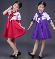 Korean Traditional Short Dress Hanbok Girl Stage Clothing Pink+Red Size 120cm
