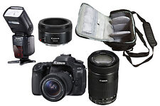 NEW Canon 80D + 18-55, 55-250, 50mm + Camera Bag + Speedlite Flash - UK DISPATCH
