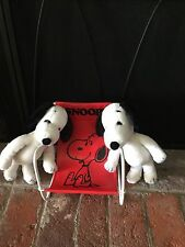 Vintage Snoopy Set 2 1968 Snoopy Plush & Red Deck Chair All Excellent Condition