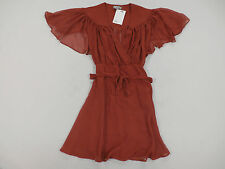 ASOS Kimono Flippy Dress w/ Stitch Shoulder Detail in Rust Size US 4 NWT $76
