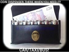 TAXI COIN HOLDER - DELUXE - FREE POST CASH DISPEN TX2 TX4 BLACK CAB.LEATHER LOOK