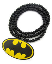 "WOODEN BATMAN PENDANT PIECE & 36"" CHAIN BEAD NECKLACE GOOD WOOD HIP HOP STYLE"