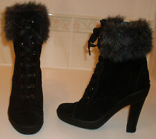 JIGSAW Jet Black Suede With Fur Trim Extra High Ankle Boots KEW UK3 EU36 US5