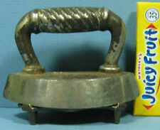 "VERY OLD TOY IRON WITH ORIG TRIVET BEATUIFUL PAIR 3 1/2"" LONG T87"