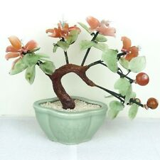 "Glass Artificial Flowers Bonsai Plant - Pink Berries Green Porcelain Pot 9""H New"