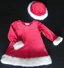 Bonnie Jean Girls Size 4 Santa Christmas Dress Hat Holiday Red Sparkles Outfit