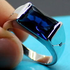 Size 10 Jewelry Mens Princess Cut Blue Sapphire 925 Silver Engagement Band Ring