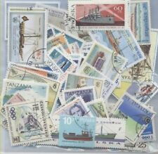 LOT DE 100 TIMBRES DIFFERENTS - THEME BATEAUX DIVERS