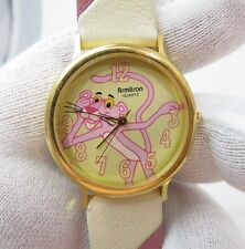 PINK PANTHER,Armitron,,80s Pink & Ivory Leather Band MEN/UNISEX/KIDS WATCH 553