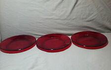 "RED GLASS 8"" PLATES BY ARCOROC  FRANCE #31"