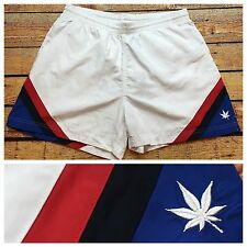 VTG BOAST TENNIS Shorts SURF Marijuana Leaf LINED L High Cut Skate Running GLANZ