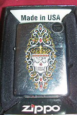 Zippo Skull Crown Engraved Skeleton Goth Horror Cigarette Lighter Skulls Flowers