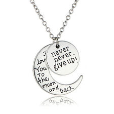 2016 Unique Fashion Jewellery I Love U Never Give up Necklace Pendants For Lover